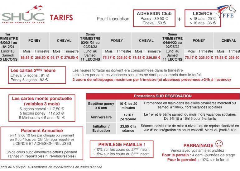 Plaquette tarifs SHUC 2021-22